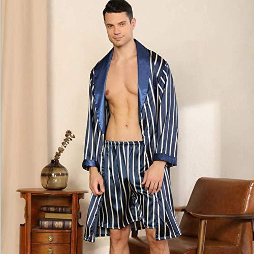 Pantalones de seda de seda de dos piezas Pantalones de pijama o pantalones cortos de albornoz sets ropa de dormir de manga larga para hombres MISU ( Color : Blue Robe Shorts 2pc , Size : XL6582 KG )