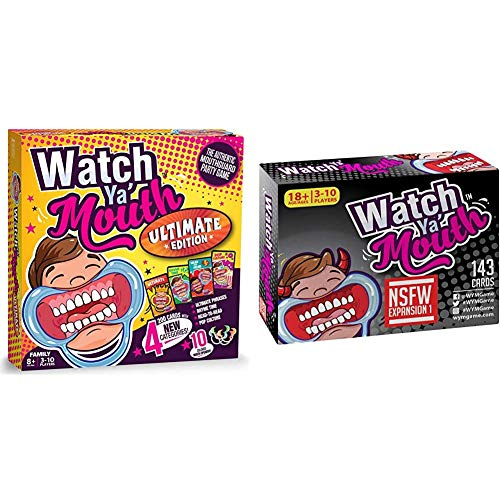 Watch Ya' Mouth Ultimate Edition & NSFW (Adult) Expansion #1 Card Game Pack, for All Mouth Guard Games