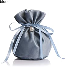 Msuper Candy Pouches Drawstring Pouch, Birthday Decor, Velvet Wedding Favor Gift Bag Party Supplies (Blue)
