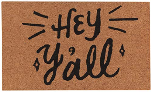 Now Designs Natural Fiber Printed Doormat, Hey Y'all - 18 x 30 in | Vinyl-Backed