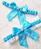 Turquoise Bridal Garter Something Blue Garter You're Next Wedding Garter Set Beach Wedding
