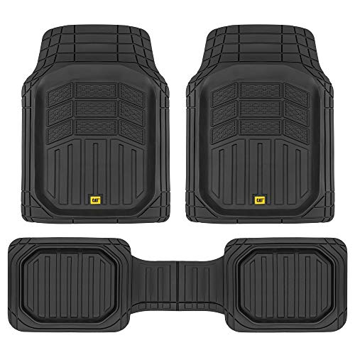 Caterpillar CAT CAMT-9013 (3-Piece) Deep Dish Rubber Truck Floor Mats, Trim to Fit for Car Truck SUV & Van, All Weather Total Protection Durable Liners Heavy Duty Odorless, 01-Black (CAMT-9013-BK)