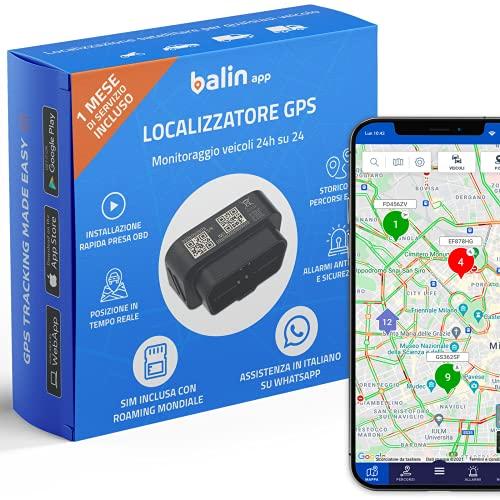 Balin.app - Mini Localizzatore GPS professionale per veicoli, con SIM card e traffico dati, tutto incluso. Installazione rapida con presa OBD del veicolo. Controlla i veicoli da Portale Web e App.