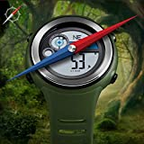Ultrafino Marrón Verde Estudiante multifunción ectronic reloj de deportes al aire libre a prueba de agua Alarma Caja de regalo Brújula luz de la noche de reloj de tiempo de hora mundial en ,vapor