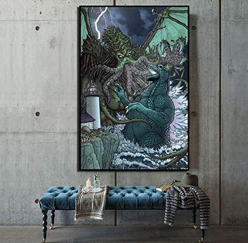 Cthulhu VS Godzilla Leinwand Malerei Drucken Wohnzimmer Dekoration Moderne Wandkunst Ölgemälde Poster Bilder 40 * 60 cm Ohne Rahmen