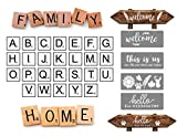 Scrabble Letters Stencil Set, Welcome Stencil for Painting on Wood, Stencil for Scrabble Wall Tile Family Wall Art, Rustic Wall Decor (6x6' Set 30PCS)