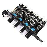 SODIAL PC8チャンネルファンハブ4ノブ冷却ファン速度コントローラー12Vファン制御によるCPUケースHdd Vga PwmファンPciブラケットパワー用