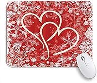 VAMIX マウスパッド 個性的 おしゃれ 柔軟 かわいい ゴム製裏面 ゲーミングマウスパッド PC ノートパソコン オフィス用 デスクマット 滑り止め 耐久性が良い おもしろいパターン (恋人のための雪片とバレンタインのハート)
