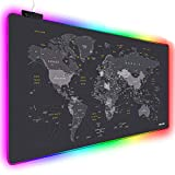 Extended RGB Mouse Pad Mat, rnairni Large Office Table Desk Mat Gaming Lighting Led Mousepad for PC Computer Keyboard Waterproof Anti-Slip Ultra Thin 4mm - 31.5'' x 15.7' (World Map)