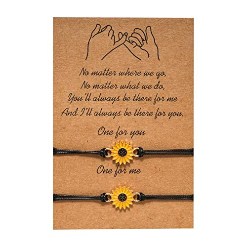 QEPOL Sunflower Pinky Promise Friendship Bracelets Matching bracelet for Couple Girlfriend Teen Bracelets, Boho Bracelet Mom Fashion Wish Wax Cotton Cord Charm Summer Beach 2-Piece (Sunflower)