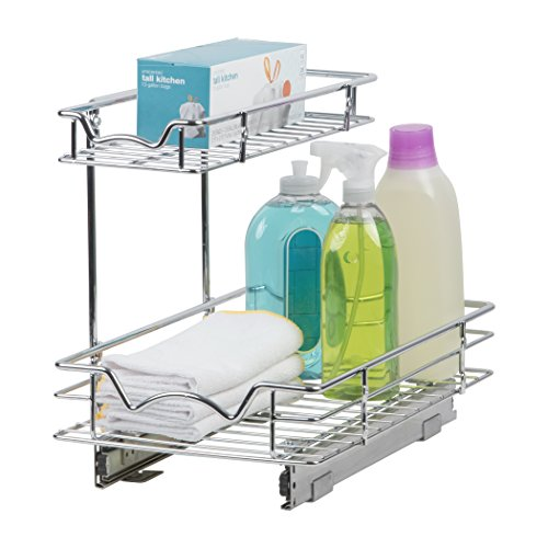 """Slide Out Cabinet Organizer – Perfect for Vanity and Kitchen Under Sink Cabinet Pull Out Shelf - Two Tier Roll Out Sliding Shelves - 11""""W x 18""""D x 14-1/2""""H, Requires At Least 12"""" Cabinet Opening"""