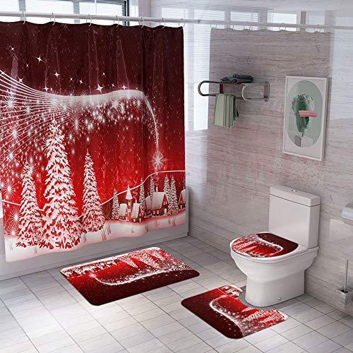 DAILYINT Tenda Bagno con 12 Ganci Tessuto Poliestere Impermeabile Tenda della Doccia Impermeabile Extra-Lunga Prova della Muffa-Antiscivolo Tappeto WC Cuscino Cuscino Bagno (Color : C)
