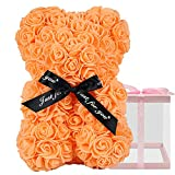 Rose Bear, Rose Teddy Bear, Used for Mother's Day, Valentine's Day, Christmas, Birthday Gifts, Bridal Gifts, it Contains 250+ Roses, Including a 10-inch Assembly Transparent Gift Box (Orange)
