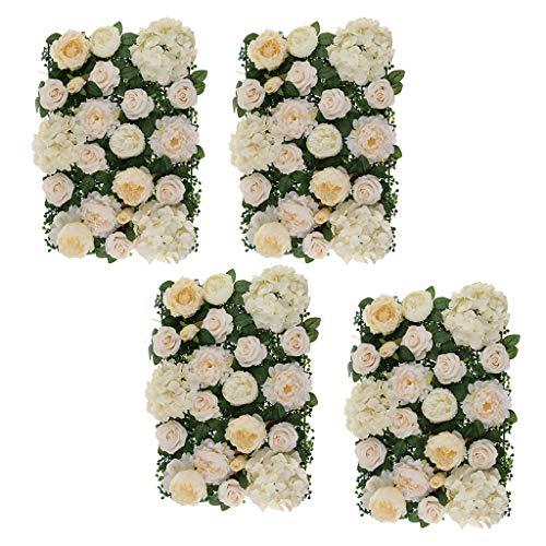 Hellery 4 Unids/Set Paneles de Pared de Flores de Seda Artificial Decoración de Telón de Fondo de Boda