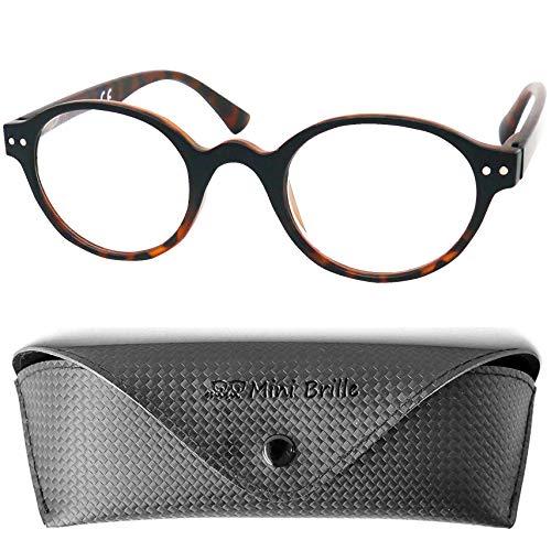 Designer Lesebrille Professorenbrille mit runden ovalen Gläsern - mit GRATIS Brillenetui, Vintage Retro Stil Kunststoff Rahmen (Leopard Braun), Lesehilfe Herren und Damen +1.0 Dioptrien
