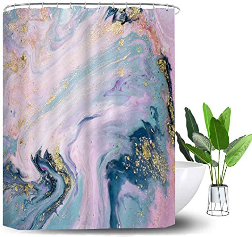 Shower Curtains,Pastel Colors Marble Texture Pattern Bathroom Polyester Fabric Curtains Set with Plastic Hooks