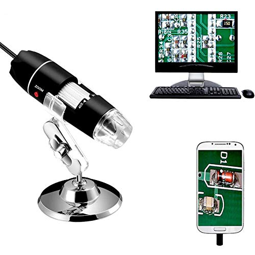 ZHANG USB Digital Microscope, 40 to 1000x Magnification Endoscope, Mini Camera with OTG Adapter and Metal Stand, Compatible with Mac Window 7 8 10 Android Linux