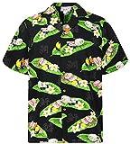 P.L.A. Pacific Legend - Camisa hawaiana de manga corta para hombre, con botones, bolsillo frontal, estampado asiático, diseño de letras sushi Sushi negro. XL