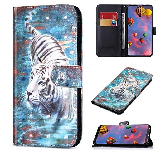 JCKHM compatible con Sony Xperia L1 Funda de Cuero Piel PU Wallet Flip Case Estuche Funda de cuero pintada en 3D con cordón Cover 360 Grados Full Body Cover Cartera Bumper Case,Tigre