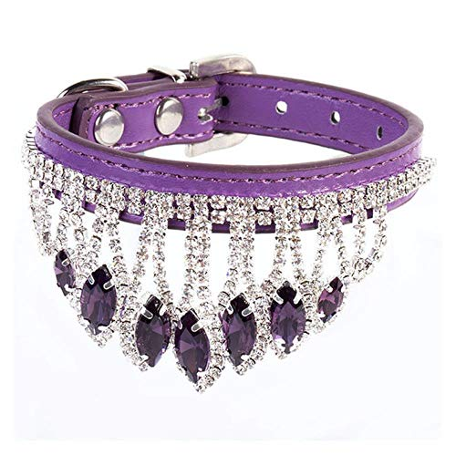 FANJIA Borla Diamante Gato Collar Cuero Ajustable Gatito Collar Retro Piedras Preciosas Collares para Mascotas Perro Cachorro Accesorios, púrpura, S