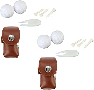 Vbestlife 2 Sack Cowhide Golf Ball Bag Holder Clip Utility Pouch Waterproof Sports Golfing Accessories with Tees, Golf Balls and Divot Tool