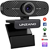 UNZANO Full HD 1080P USB Webcam with Microphone, Web Camera for Laptop and Desktop - Video Calling and Recording PC Webcam for Streaming, 360 Degree Rotatable