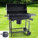 RAMROXX 38335 RAMROXX® BBQ XL Smoker Holzkohle Barbecue Grill RX870 Schwarz mit Abdeckung