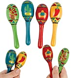 16 Fiesta Maracas for Kids & Adults Wooden - Cinco de Mayo Mexican Party Favor Supplies Decoration Noisemaker Toys Bulk Fiesta Gift - 5 Inches By 4E's Novelty