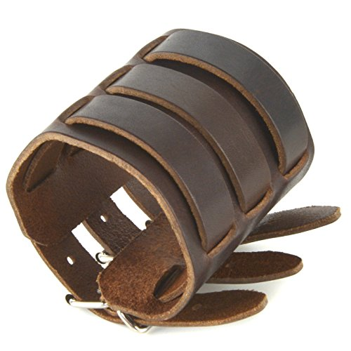HZMAN Dark Brown Leather Wide Triple Strap Cuff Wrap Gauntlet Wristband Buckle Fastening Arm Armor Cuff (Brown)