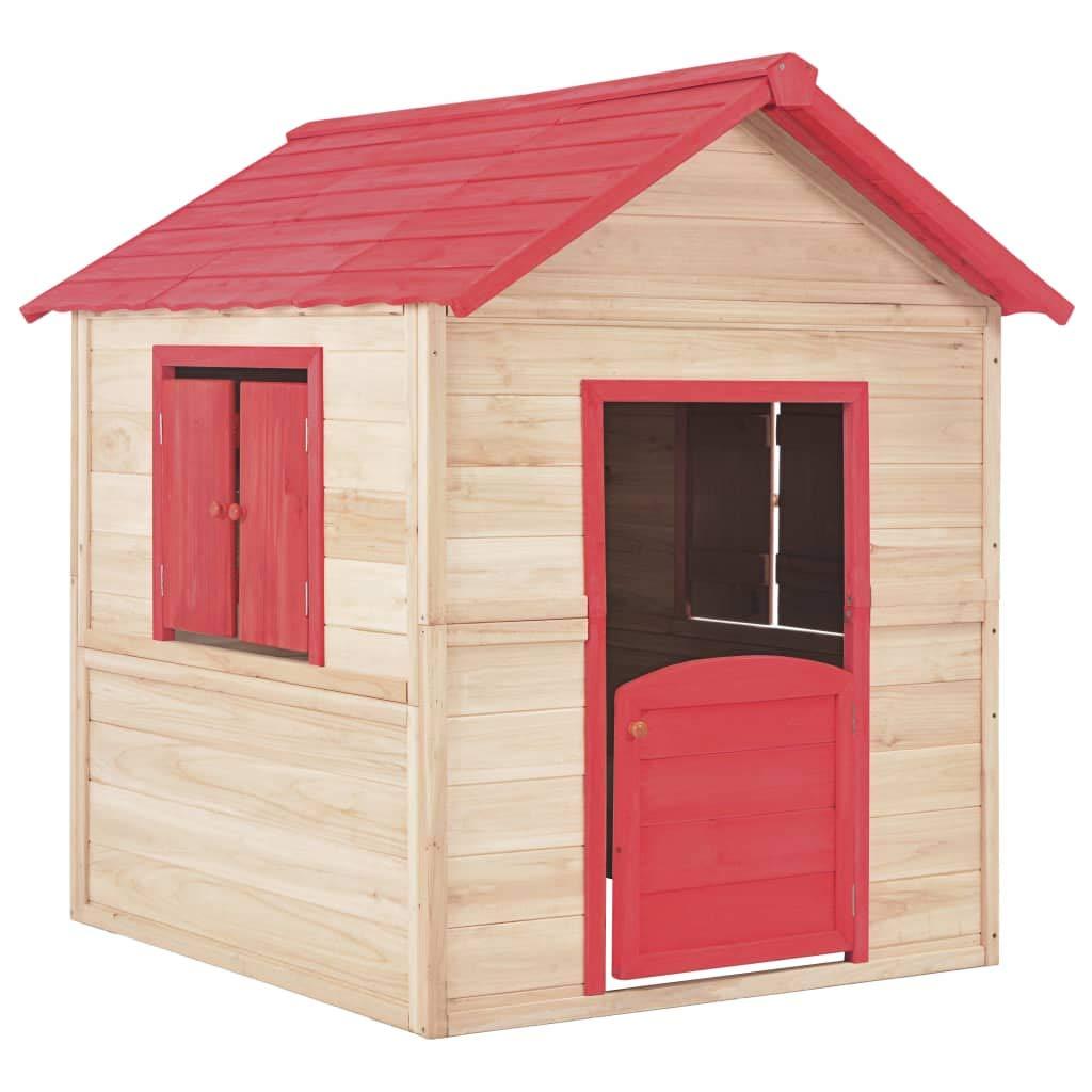 UnfadeMemory Casa Madera Niños de Jardín o Interior con 2 Ventanitas,Casa de Juegos,Regalo de Cumpleaños y Navidad,107x128x128cm (Rojo): Amazon.es: Hogar