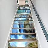 BLOUR PVC Tapete Wasserfall Grafiken, einfache 13 Stück DIY Treppenaufkleber, Stufenaufkleber, Wandaufkleber