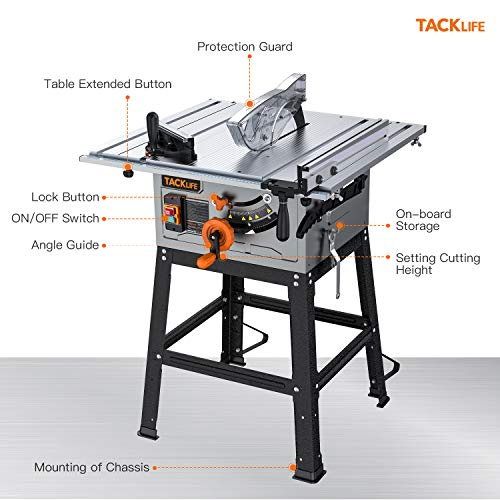 TACKLIFE Table Saw, 10-Inch 15-Amp Table Saw, Cutting Speed up to 4800RPM, Aluminum Extension Table, 24T Blade, 45ºBevel Cutting, Jobsite Table Saw with Stand, Miter Gauge, Push Bar - MTS01A