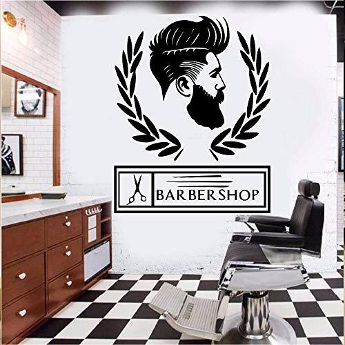Negozio Personalizzato Barbiere Decorazione Decorazione Vinile Stickers murali Carta da Parati Negozio Barbiere Accessori Murale Rimovibile Giallo M 30cm X 37cm