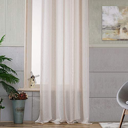 Viste tu hogar Cortina Decorativa Semitranslucida con Ojales, Estilo Simple y Elegante, para Salón, Habitación y Dormitorio, 2 Piezas, 150X260 CM, Color Beige