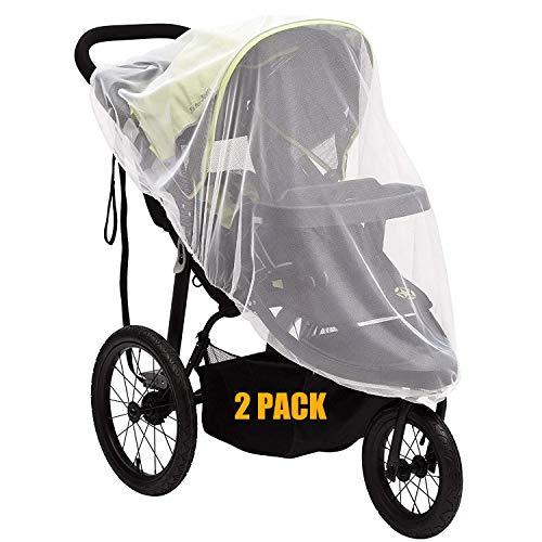 METCRY Baby Mosquito Net for Stroller,Insect Bug Netting for Strollers Infant Carriers, Car Seats, Cradles, White(2 Pack,Universal Size)