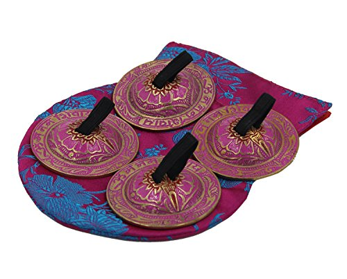 DharmaObjects Belly Dancing OM Namah Pro Finger Zills or Cymbals (Pink)