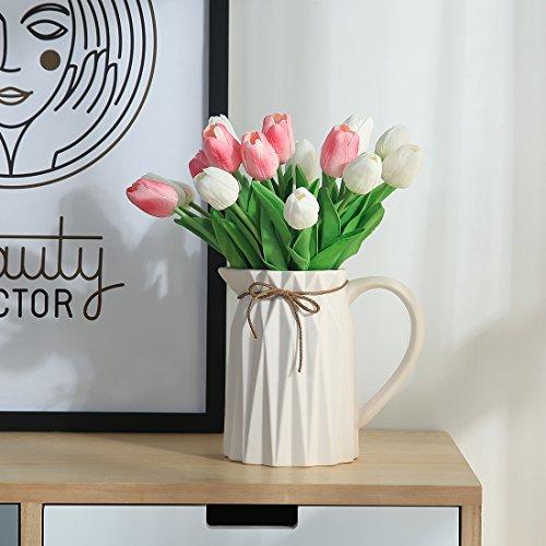 JUSTOYOU 20 STK PU Real Touch Latex Künstliche Tulpen Gefälschte Tulpen Blumen Blumensträuße Blumen Arrangement für Home Room Hochzeitsstrauß Party Herzstück Dekor Rosa - 5