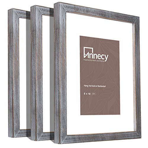 Annecy 8x10 Picture Frame (3 Pack, Gray) - Made of Solid Wood 8x10 Photo Frames with Real Glass for 5x7 with Mat...