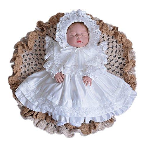 Dreambuilder(ドリームビルダー)セレモニードレス ホワイト 新生児 お宮参り ベビードレス ニューボーンフォト 写真撮影 寝相アート お宮参り 退院着 記念撮影 お披露目に 赤ちゃん 0ヶ月 1ヶ月 2ヶ月 (0~2ヶ月)