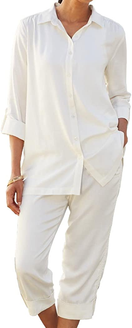ANTHONY RICHARDS Women's Mesh Accent Capri Set - Silky Blouse & Roll-Cuff Pants Outfit White 18 Women