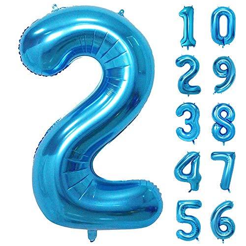 GRESAHOM Ballon Zahl in Blau, 40inch 100cm Riesen Folienballon Zahl 2 Luftballon Geburtstagsdeko