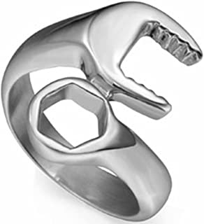 Jude Jewelers Stainless Steel Wrench Style Biker Ring