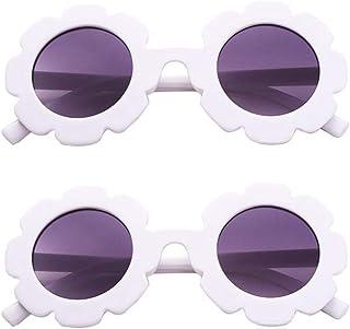 FENICAL 2pcs Anti-UV Round Sunglasses Resin Kids Sunflower Eyewear Party Favors Glasses for Girls Boys (White Blue)
