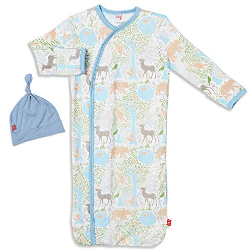 Magnetic Me Baby Gown & Hat Sleep Outfit Soft Modal Layette Sack Set with Magnet Fasteners Newborn - 3 Months Acadia Blue