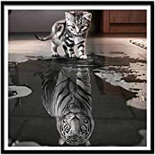 40X50cm 5D DIY Cat Diamond Painting Reflection Tiger Cross Stitch Arts Diamond Embroidery Mosaic Diamonds Wall Stickers Ho...