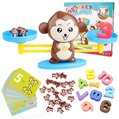 BBLIKE Montessori Mathe Waage Spielzeug, Zählen und Rechnen, Cartoon Tier Affe Balance/Geschicklichkeit Spielzeug Lernspielzeug mit Waage und Zubehör für Kinder ab 5 Jahhre Alt