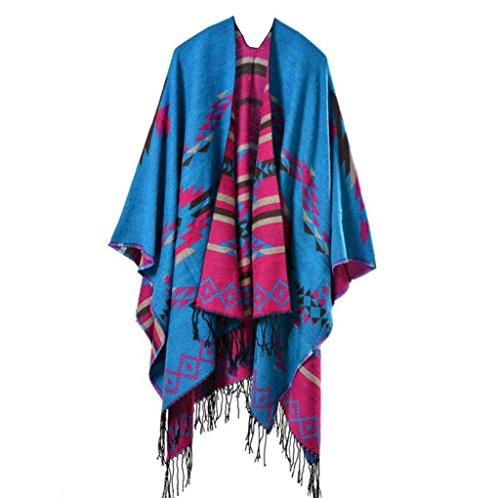 JH Frauen Mode Nepal Stil Oversized verdickte Decke Schal Wickeln Poncho Schal Cape gemütliche Faux Cashmere Frau 150 * 130cm, a