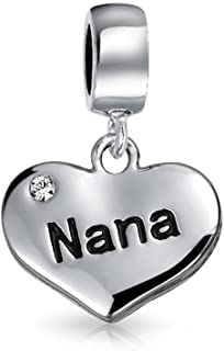 Bff Grandmother Word Nana Heart Shape White Crystal Dangle Bead Charm Sterling Silver Fit European Bracelet