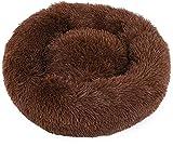 Cama de gato de forma redonda marrón para descanso de invierno para mascotas