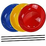 SchwabMarken 3 Platos Chinos con 3 Palo de plástico, 3 o 5 Platos Chinos con Palo de Madera o con Palo de plástico